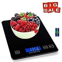 MATCC Balance de Cuisine Electronique 15kg Maximum Balance Alimentaire avec Plate-Forme en Verre Trempé Écran LCD Digital Rétroéclairé Tare Précision 1g / 1lb Parfait pour la Cuisine