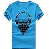 ASHOP Herren Mode Bedrucktes T-Shirt Rundhals Kurzarmshirt Vintage T-Shirt Print Shirt Muscle Slim Fit Sweatshirt für deinen trainierten Körper (M-3XL) (Blau, XL)