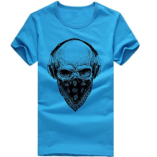 ASHOP Herren Mode Bedrucktes T-Shirt Rundhals Kurzarmshirt Vintage T-Shirt Print Shirt Muscle Slim Fit Sweatshirt für deinen trainierten Körper (M-3XL) (Blau, 3XL) (Moda Schüssel)