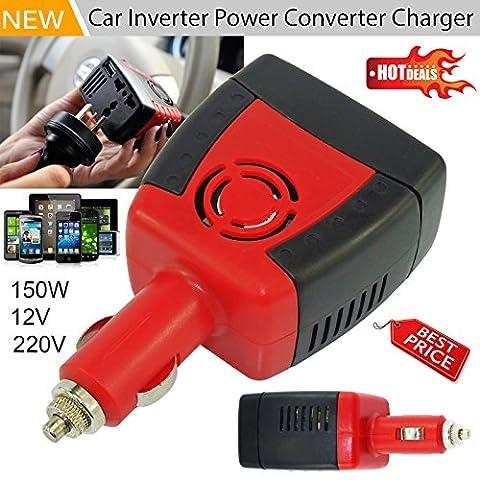 150W DC 12V à 230V AC Power Inverter Adaptateur Chargeur Auto Voiture Universel pour iPhone, iPod, HTC, Samsung Chargeur de voyage Lecteur DVD Power GPS PSP Alimentation (Bouchon universel)