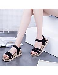 XY&GK Las mujeres sandalias de verano con suela gruesa Muffin Waterproof pendiente con sandalias estudiante Zapatos Zapatos para mujeres embarazadas 35 negro