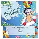 Partycards Set di 12 inviti Compleanno Biglietti invito per Festa Compleanno per Bambini e Adulti in Italiano - Festa in Piscina