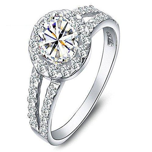 KnSam Damen Platin Plattiert Verlobungsringe Halo Quadratische Cluster Ebnen Größe 60 (19.1) Crystal [Neuheit Ringe] (Ic-weste)
