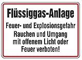 Qualitäts - Aluminium Schild Flüssiggas-Anlage Feuer- und Explosionsgefahr Rauchen und Umgang mit offenem Licht oder Feuer verboten! 250x350 mm geprägtes Aluschild 0,6 mm Alu