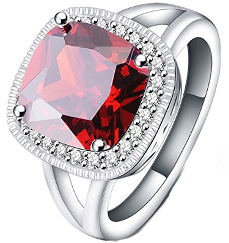 SaySure - Rings Silver Plated AAA Crystal Big Oval Ruby (SIZE : 7)