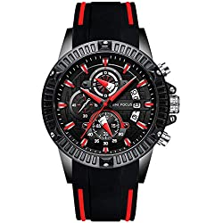 RORIOS Luxury Hombre Relojes de Pulsera Silicona Luminoso Calendario Multifunción Relojes