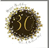 Wendy Jones-Blackett Glückwunschkarte zum runden 30. Geburtstag veredelt mit Kristallen und Glitter. Eine sehr hochwertige und originelle Geburtstagskarte, auch für Geschenkgutschein oder Geldgeschenk. WP092