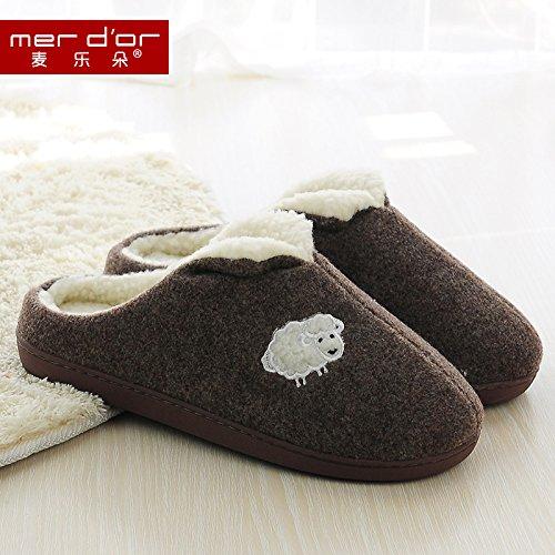 Cotone fankou pantofole home inverno interno caldo addensante non - Slittamento coppie pantofole di cotone cotone carino pantofole scarpe Lila