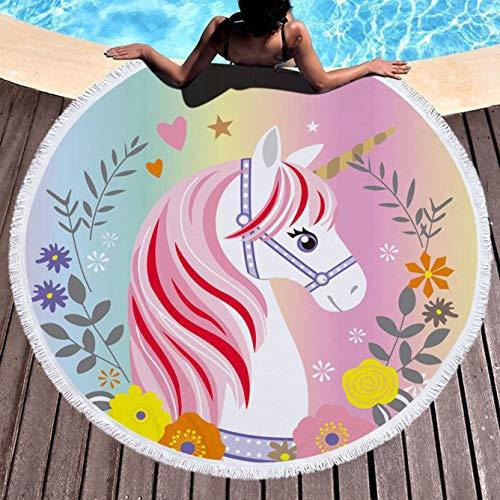 yuangong Estiloso Unicornio Toalla Playa 59 Pulgadas Rosa Redondas Grandes Manta con Borlas Ultra Suave Microfibra Súper Agua Absorbente para Baño Piscina Times Hogar Decoración - 4