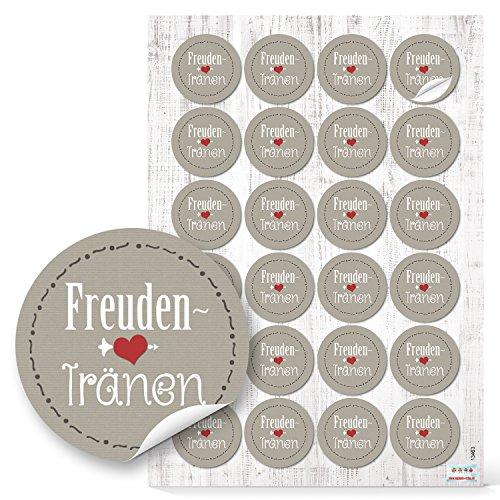 Logbuch-Verlag 96 runde FREUDENTRÄNEN Aufkleber 4 cm grau rot weiß HERZ für Taschentücher Tempo zur Hochzeit Sticker zum Papiertüten verschließen