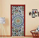 zhimu Holztüren renovieren Tür Aufkleber Farbe Kaleidoskop Selbstklebende dekorative Wasserdichte 3D Aufkleber an der Tür des Raumes
