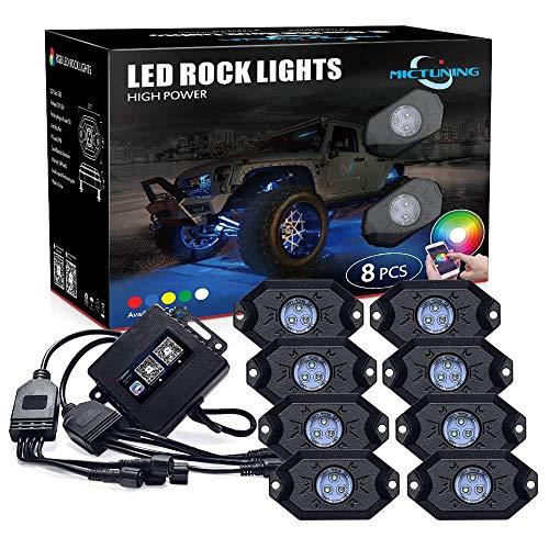 MICTUNING 8pcs RGB Rock LED Unterbodenbeleuchtung mit Bluetooth Timing Musik Kontrolle für Fahrzeug SchiffSchutzabdeckung für KFZ-Boot Marine-SUV (Für Stroboskop-licht-kits Autos)