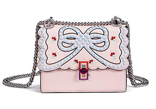 Xinmaoyuan Borse donna colorato Forare il rivetto catena di blocco Bag Hit colore spalla ricamo croce diagonale di borsette in cuoio bordo d'onda borsa di organo,Bianco Rosa