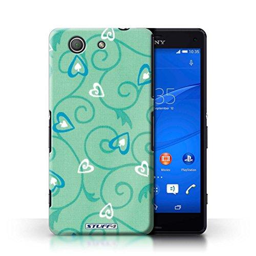 Kobalt® Imprimé Etui / Coque pour Sony Xperia Z3 Compact / Rose/Violet conception / Série Coeur Vigne Motif Turquoise/Bleu