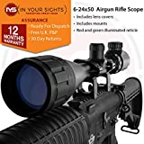In Your Sights Air Gun 6-24x50AO Rifle Scope/Adjustable Objective Riflescope + Mounts