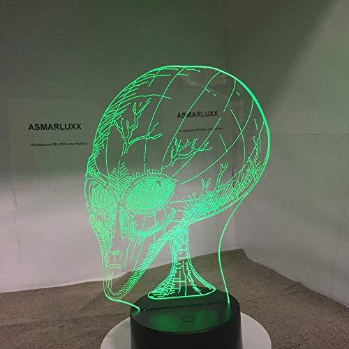Alien New 3D LED Nachtlicht Andere Planeten Menschen Kopf mit 7 Farben Licht für Heimtextilien Lampe Visualisierung Optische Dekor