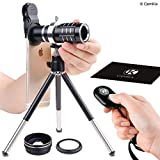 Juego de lentes universales 3 en 1 con obturador de cámara con control remoto Bluetooth + 12x Teleobjetivo + lentes Macro + Gran Angular- Impresionante fotografía móvil para iPhone, Samsung, etc.