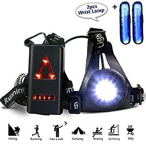 Wiederaufladbare USB Running Light, Gifort LED Brust Lampe 3 Modi 250 LM wasserdicht mit 2pcs Handgelenk Lichtleiste für Outdoor Sport Joggen, Laufen, Camping, Lesen, Angeln, Klettern