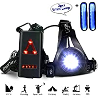 Night Running Light, Gifort Rechargeable USB Running Light LED Chest Lamp 3 Modes 250 LM Waterproof with 2pcs Wrist Light for Outdoor Sport Jogging, Running, Camping, Reading,Fishing, Rock Climbing