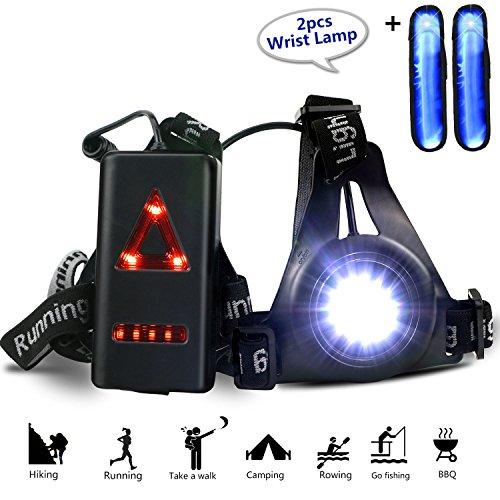 Gifort Wiederaufladbare USB Running Light, LED Brust Lampe 3 Modi 250 LM wasserdicht mit 2pcs Handgelenk Lichtleiste für Outdoor Sport Joggen, Laufen, Camping, Lesen, Angeln, Klettern