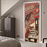 Leoljc Distributore Di Benzina 3D Impermeabile Da Adesivi Poster Da Parati Di Alta Qualità Per Soggiorno Decorazione Camera Da Letto (77X200Cm)