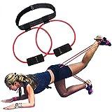 5BILLION booty bande elastiche di resistenza – Set per un allenamento muscolare cuocere bikini Butt cintura in vita regolabile con borsa per il trasporto e un completo per esercizi di guida (Rosso)