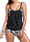 Bettydom Frauen schoene Tankini Zweiteilig Schwimmanzug Streifen Bademode Damen Strandmode Bikini Set (S, Z Blumen)