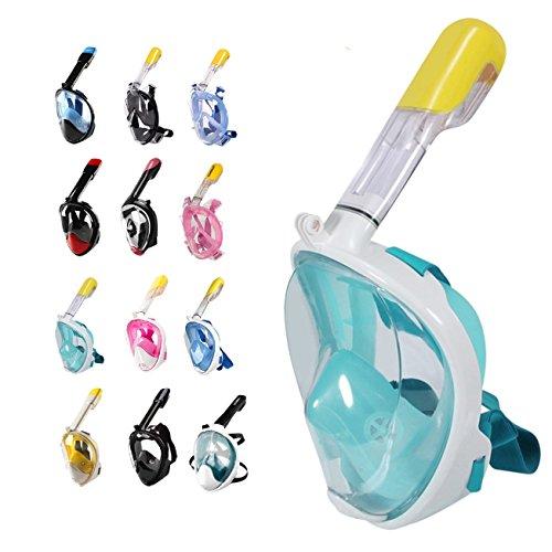 Masque intégral avec tuba Vision panoramique à 180° Antibuée, joint anti-fuite, tuba intégré, support GoPro, respiration naturelle Pour jeunes et adultes M Version 2 - Green