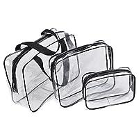 Yeshai3369 Waterproof PVC Zipper Transparent Cosmetic Bag, Makeup Toiletry Organizer Clear Pouch Handbag for Women Travel S