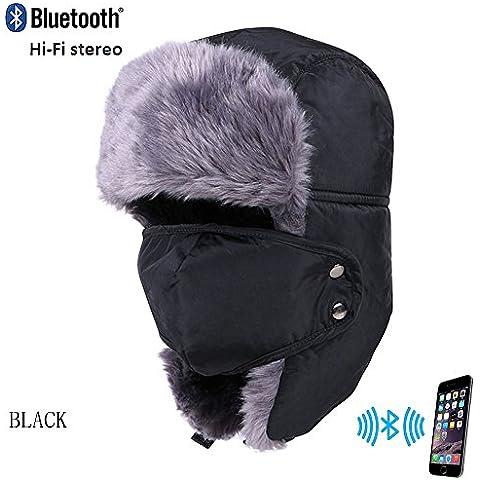 Coco Fashion Unisex adulto caldo comodo Berretto con Wireless Bluetooth cuffie nero Black taglia unica