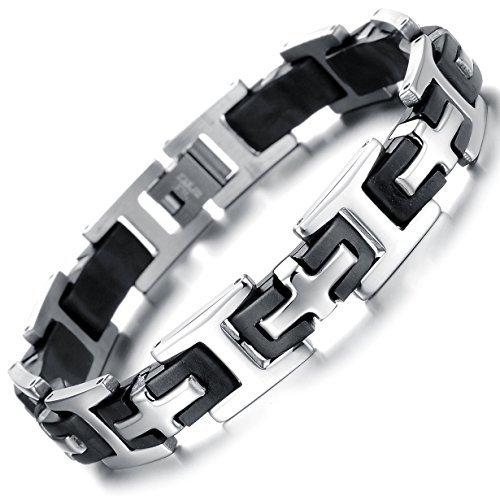 Ostan - Gotik 316L Edelstahl Armbänder Armreifen Herren Armband - Neue Mode Schmuck Armschmuck, Silber und Schwarz
