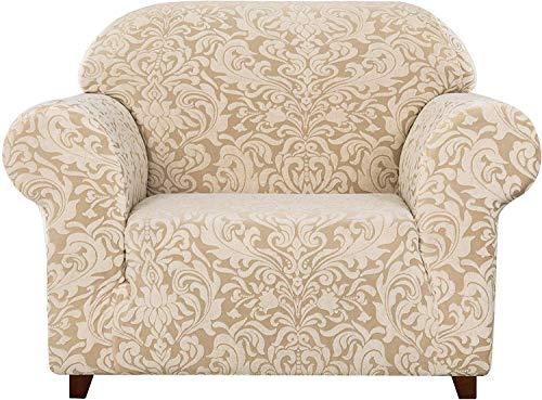 subrtex Damast Sofabezug Stretch Couchbezug Sesselbezug Elastischer Blumenmuster Antirutsch Sofahusse (1 Sitzer, Beige Muster)