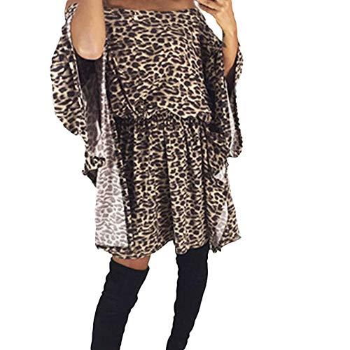 Selou Langärmeliges Kleid Leopardenmuster Damen Bedruckte asymmetrische Strickjacke Langes...