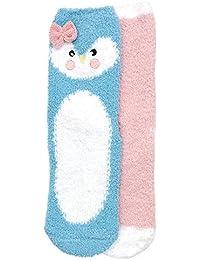 RJM Girls 2 Pack Slipper Socks with Animal Face