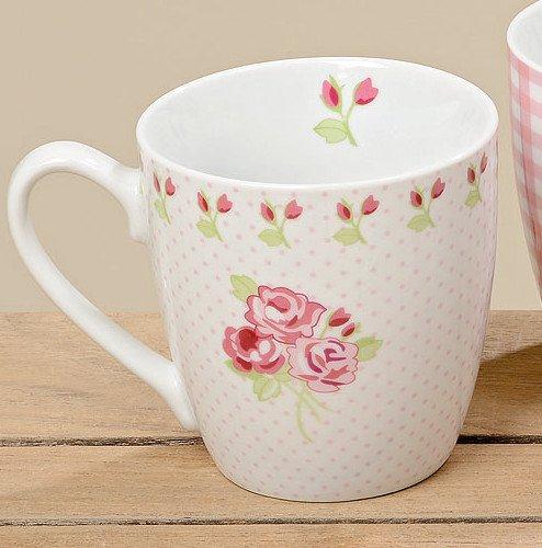 Jumbotasse Porzellan Rose gepunktet Jumbobecher 400ml Kaffeetasse