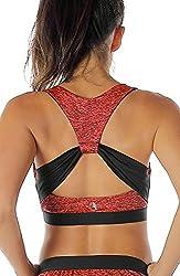 icyzone Damen Sport-BH mit Gepolstert Yoga BH Starker Halt Bustier Stretch Sports Bra Fuer Fitness-Training (Red Bud, M)