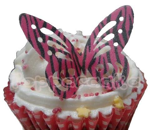 (SB) Pink Zebra Print Edible Rice Paper Butterfly Cupcake Wedding Cake Decoration x 12