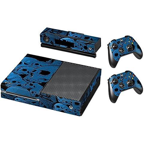 Pandaren® completos placas frontales Pegatinas de la piel para la consola Xbox One x 1 y el mando x 2 y kinect x 1(cráneos azules)