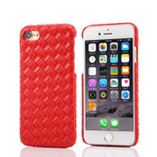 """iPhone 7 Plus Coque Dur Case Fine Mince Style Poids léger, Etui Apple iPhone 7 Plus 5.5"""", Élégant Imité Tissage Texture Anti Choc Housse de Protection pour iPhone 7 Plus Rouge"""