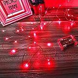 Led Lichterkette Batterie Strombetrieben, 1 Packung Batteriebetrieben 5m 50er Micro LED Kupferdraht Lichterketten für Schlafzimmer, Weihnachten, Innen, Feste, Hochzeiten, Dekoration(Rot)