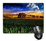 HYYCLS Mauspads,Unique Printed Mouse Mat Design for Landscape Nature Field Rural Sky Autumn Green Country Agriculture Sunset Countryside Hill Scenic Season Meadow