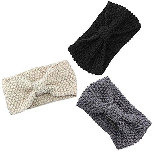 Strick Stirnband Haarband Damen Kopfband Gestrickt Häkelarbeit Schleife Design Winter Mädchen Frauen