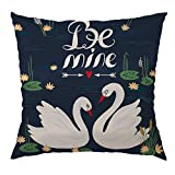Swan Pillow Decorative Throw Pillow Cover Beautiful White Swans on the Lake Satin Square Cushion Cover Standard Pillow Cases for Men Women Boys Girls Home Sofa Bedroom Livingroom 18