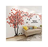 Large Size Baum dekorative 3D-Wand-Aufkleber Diy Kunst TV Hintergrund Wall Poster Wohnkultur Schlafzimmer Wohnzimmer-Wand-Aufkleber, rot links, L Über 1.5X3.0 M
