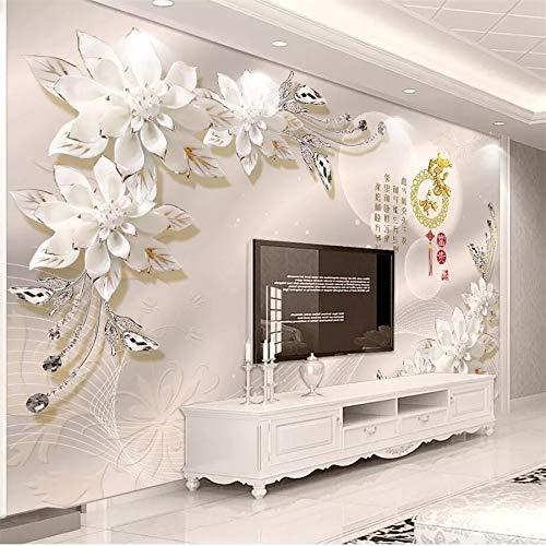 Apoart 3D Wandtapete Tapeten 3D Große Grafiker Und Reiche Weiße Porzellan Blume Diamant Schmuck Hintergrund Tapetenwandbild350Cmx245Cm -