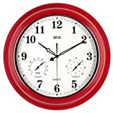 BEW Outdoor Garden Clocks, 45cm Waterproof Clock with Temperature & Humidity Combo, Silent Battery Operated Metal Hanging Clock for Pool, Garden, Fence, Yard, Patio, Garage (18 Inch, Empire Red)