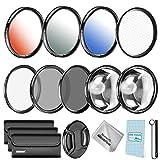 Neewer Kit di Filtri Accessori 67mm per Reflex Nikon D7000/5100/90/60/70/40 Inclusi:Filtri UV/CPL/ND4 Filtri Macro Close-up(+4, 10) Filtri Colorati Graduali Filtro Effetto Stella a 6 Punte