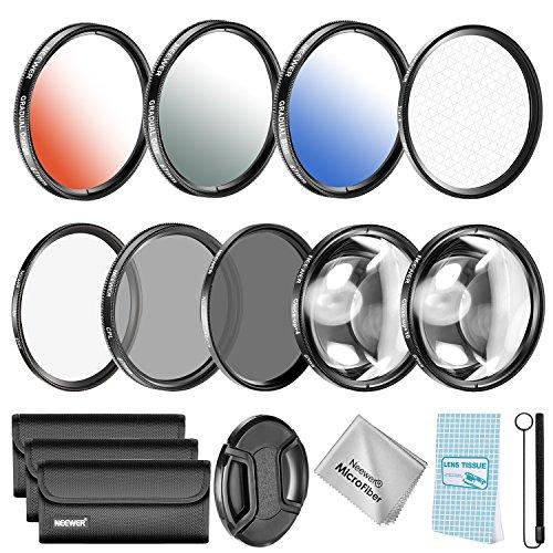 Neewer Zubehör-Set 67mm für Spiegelreflexkamera Nikon D7000/5100/90/60/70/40 Inkl. UV/CPL/ND4 Filter, Makro Close-up(+4, 10) Farbfilter Graduale Effektfilter mit 6 Spitzen