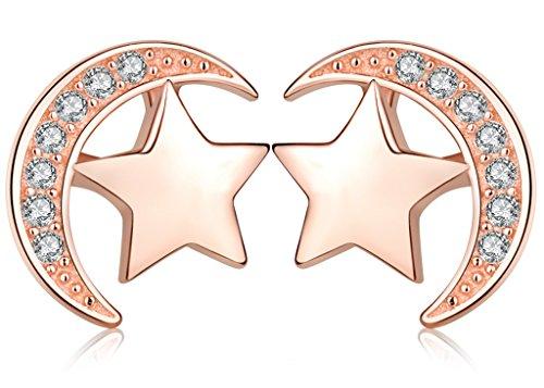 Infinite U elegante Star luna in argento Sterling 925con zirconi orecchini per donna/ragazza, oro rosa