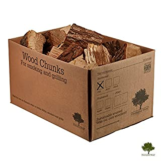Wood Chunks for Smoking Food - Kiln Dried Wood - Small Chunks for Smoking Food on BBQ's/Barbeques. Large 7-9KG / 25 Litre Box - Fast